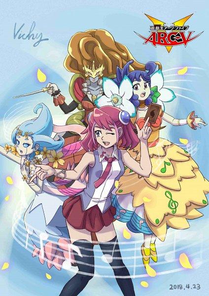 Tags: Anime, Pixiv Id 21959917, Yu-Gi-Oh! ARC-V, Yu-Gi-Oh!, Schuberta The Melodious Maestra, Bloom Prima the Melodious Choir, Bloom Diva the Melodious Choir, Hiiragi Yuzu, Fanart, Fanart From Pixiv, Pixiv, Melodious