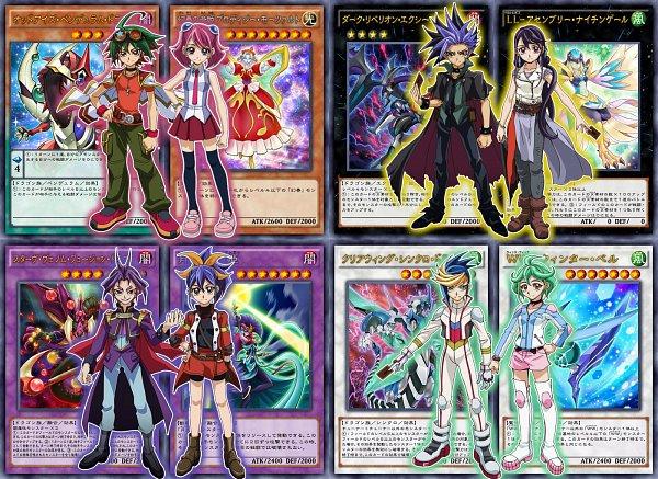 Tags: Anime, Yu-Gi-Oh!, Yu-Gi-Oh! ARC-V, Dark Rebellion Xyz Dragon, Starve Venom Fusion Dragon, Kurosaki Ruri, Yuto (Yu-Gi-Oh! ARC-V), Rin (Yu-Gi-Oh! ARC-V), Yuuri (Yu-Gi-Oh! ARC-V), Odd-Eyes Pendulum Dragon, Lunalight Cat Dancer, Clear Wing Synchro Dragon, Lyrilusc - Assembled Nightingale