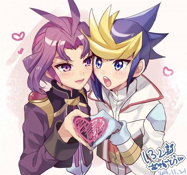 Tags: Anime, Pixiv Id 3042037, Yu-Gi-Oh!, Yu-Gi-Oh! ARC-V, Yuuri (Yu-Gi-Oh! ARC-V), Yuugo (Yu-Gi-Oh! ARC-V), Heart Gesture Duo, Twitter, Fanart, Fanart From Pixiv, Pixiv, YugoYuri