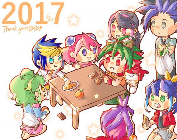 Tags: Anime, Misa (Pixiv13715356), Yu-Gi-Oh! ARC-V, Yu-Gi-Oh!, Yuugo (Yu-Gi-Oh! ARC-V), Rin (Yu-Gi-Oh! ARC-V), Yuto (Yu-Gi-Oh! ARC-V), Serena (Yu-Gi-Oh! ARC-V), Hiiragi Yuzu, Kurosaki Ruri, Sakaki Yuya, Yuuri (Yu-Gi-Oh! ARC-V), Happy 2017