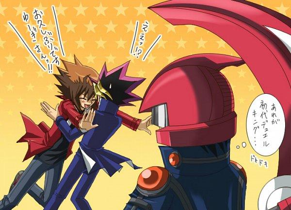 Tags: Anime, Yiyiyi, Yu-Gi-Oh! Bonds Beyond Time, Yu-Gi-Oh! GX, Yu-Gi-Oh! Duel Monsters, Yu-Gi-Oh! 5D's, Yu-Gi-Oh!, Juudai Yuuki, Yusei Fudo, Mutou Yuugi, Pounce, Duel Runner, Thinking