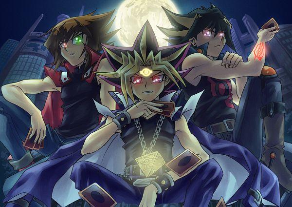 Tags: Anime, Raku623, Yu-Gi-Oh! Bonds Beyond Time, Yu-Gi-Oh!, Yu-Gi-Oh! Duel Monsters, Yu-Gi-Oh! GX, Yu-Gi-Oh! 5D's, Juudai Yuuki, Yami Yugi, Yusei Fudo, Eye (Symbol), Skyscraper, Chain Necklace