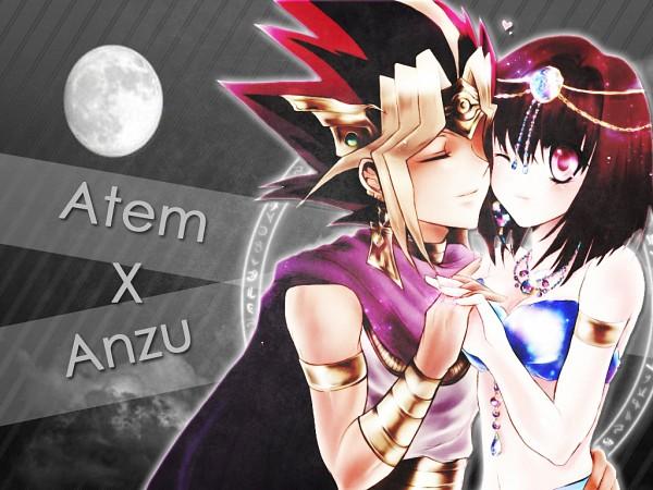 Tags: Anime, Yu-Gi-Oh!, Yu-Gi-Oh! Duel Monsters, Pharaoh Atem, Mazaki Anzu, Yami Yugi, Cheeks Together, Egyptian Clothes, Text: Couple Name, Artist Request, Fanart, AtemAn
