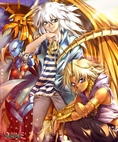 Tags: Anime, Hikarra, Yu-Gi-Oh! Duel Monsters, Yu-Gi-Oh!, Marik Ishtar, Dark Necrofear, Yami Bakura, The Winged Dragon of Ra, God, Millennium Ring, Millennium Rod, Fanart From Pixiv, Pixiv