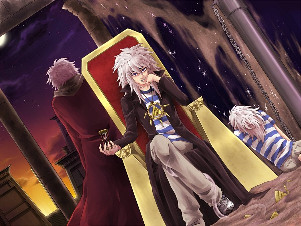 Tags: Anime, Pixiv Id 903697, Yu-Gi-Oh!, Yu-Gi-Oh! Duel Monsters, Thief King Bakura, Bakura Ryou, Yami Bakura, Millennium Ring, Egyptian Clothes, Day And Night, Throne, Sitting On Throne, Pixiv