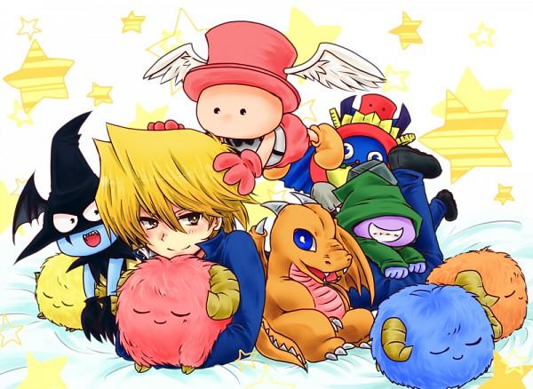 Tags: Anime, Pixiv Id 4795786, Yu-Gi-Oh! Duel Monsters, Yu-Gi-Oh!, Baby Dragon (Yu-Gi-Oh! Duel Monsters), Time Wizard, Graverobber (Yu-Gi-Oh!), Jounouchi Katsuya, Graceful Dice, Scapegoat, Skull Dice, Fanart, Fanart From Pixiv
