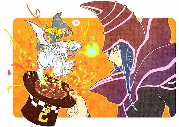 Tags: Anime, Yuza, Yu-Gi-Oh!, Yu-Gi-Oh! Duel Monsters, Blue-Eyes Toon Dragon, Blue-Eyes White Dragon, Dark Magician Girl, Dark Magician, Pixiv, Fanart, Fanart From Pixiv