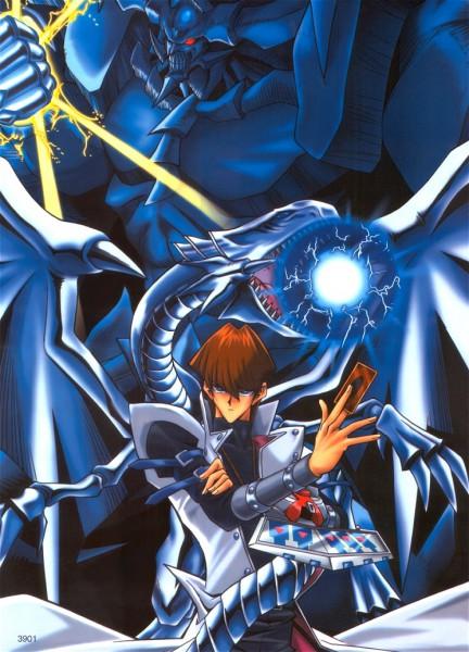 Tags: Anime, Takahashi Kazuki, Studio Gallop, Yu-Gi-Oh!, Yu-Gi-Oh! Duel Monsters, Obelisk the Tormenter, Kaiba Seto, Blue-Eyes White Dragon, God, Official Art, Mobile Wallpaper