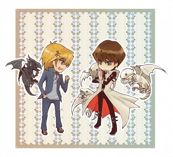 Tags: Anime, Pixiv Id 333793, Yu-Gi-Oh!, Yu-Gi-Oh! Duel Monsters, Jounouchi Katsuya, Kaiba Seto, Red-Eyes Black Dragon, Blue-Eyes White Dragon, Pixiv, Fanart, Fanart From Pixiv, JouKai