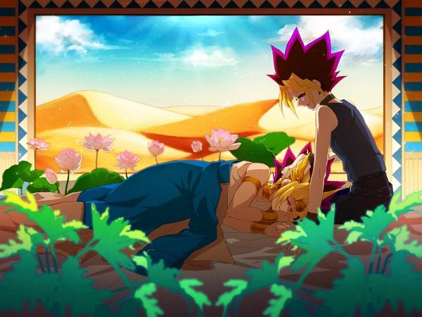Tags: Anime, Pixiv Id 403610, Yu-Gi-Oh!, Yu-Gi-Oh! Duel Monsters, , Mutou Yuugi, Pharaoh Atem, Yami Yugi, Desert, Fanart From Pixiv, Pixiv, Fanart, AtemOmo