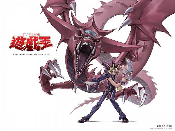 Tags: Anime, Takahashi Kazuki, Yu-Gi-Oh! Duel Monsters, Yu-Gi-Oh!, Slifer the Sky Dragon, Yami Yugi, Official Art, Official Wallpaper, Wallpaper