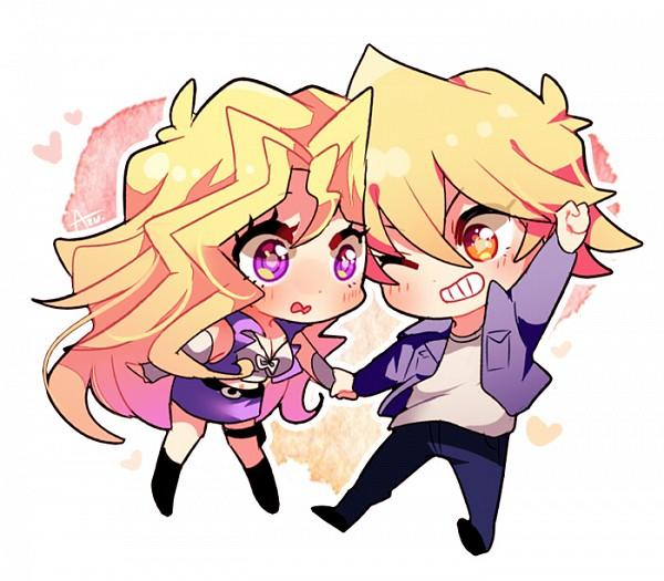 Tags: Anime, Azu., Yu-Gi-Oh!, Yu-Gi-Oh! Duel Monsters, Kujaku Mai, Jounouchi Katsuya, Semi Chibi, Purple Vest, Fanart From Pixiv, Fanart, Pixiv, JouMai
