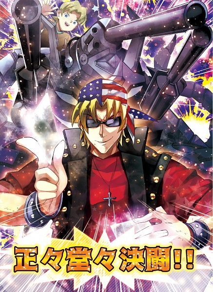 Tags: Anime, Eirakko, Yu-Gi-Oh! Duel Monsters, Yu-Gi-Oh!, Bandit Keith, Barrel Dragon, Star Print, Flag Print, Fanart, Pixiv, Fanart From Pixiv, PNG Conversion