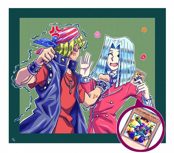 Tags: Anime, Tonarinoyutori, Yu-Gi-Oh! Duel Monsters, Yu-Gi-Oh!, Toon Barrel Dragon, Bandit Keith, Pegasus J. Crawford, Flag Print, Purple Neckwear, PNG Conversion, Fanart