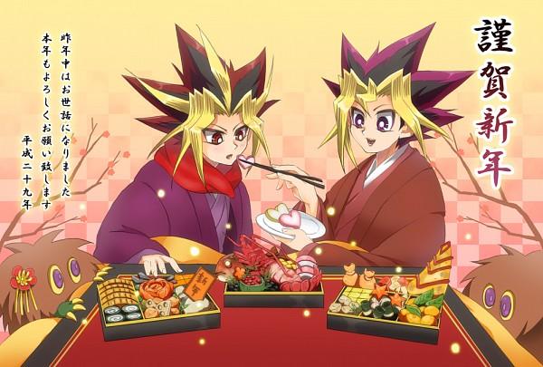 Tags: Anime, Pixiv Id 11735518, Yu-Gi-Oh!, Yu-Gi-Oh! Duel Monsters, Kuriboh, Yami Yugi, Mutou Yuugi, Yellow Sclera, Looking At Food, Mouthless, Feeding, Fanart From Pixiv, PNG Conversion