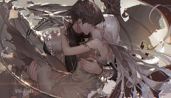 Tags: Anime, kawacy, Yu-Gi-Oh!, Yu-Gi-Oh! Duel Monsters, Kisara, Kaiba Seto, Blue-Eyes White Dragon, Text: Couple Name, Fanart From Pixiv, Fanart, Pixiv, SetoKisa