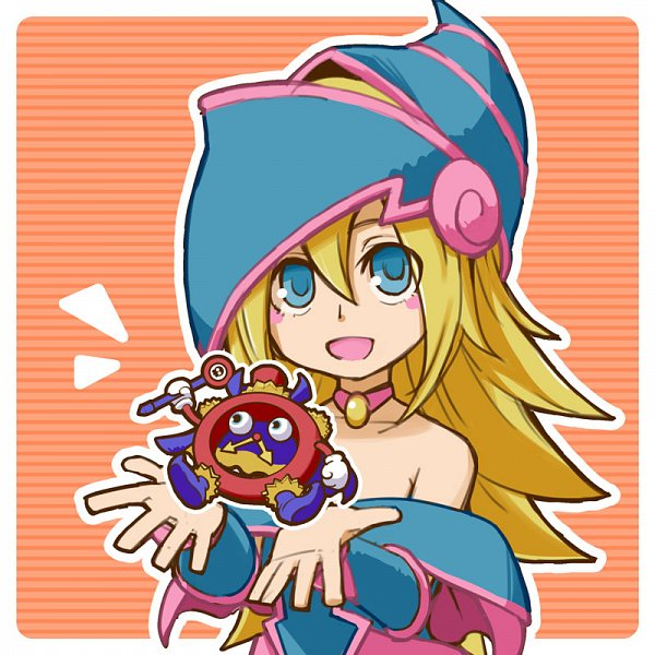 Tags: Anime, Hitohautsu, Yu-Gi-Oh!, Yu-Gi-Oh! Duel Monsters, Time Wizard, Dark Magician Girl, Teal Hat, Aqua Armwear, Aqua Headwear, Yellow Gem, Fanart, Fanart From Pixiv, Pixiv