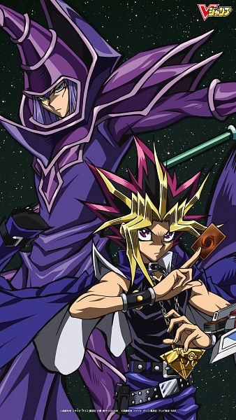 Tags: Anime, Studio Gallop, Yu-Gi-Oh! Duel Monsters, Yu-Gi-Oh!, Yami Yugi, Dark Magician, Chain Necklace, Official Art, Mobile Wallpaper