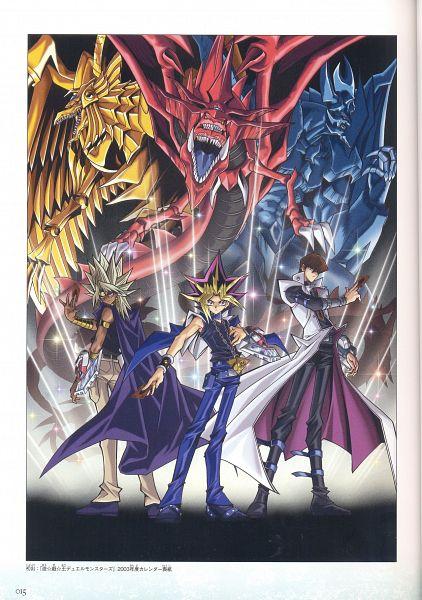 Tags: Anime, Takahiro Kagami, Studio Gallop, Yu-Gi-Oh! Duel Monsters, Yu-Gi-Oh!, Yami Marik, Kaiba Seto, Yami Yugi, The Winged Dragon of Ra, Obelisk the Tormenter, Slifer the Sky Dragon, Official Art, Scan
