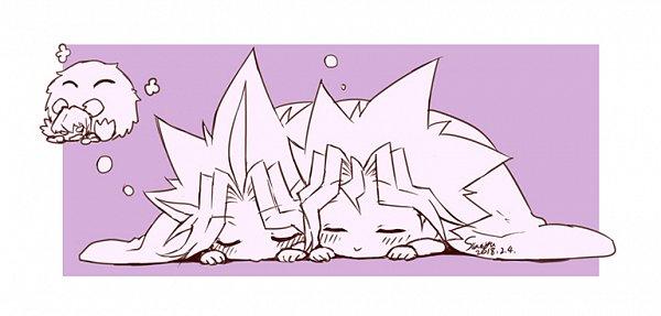 Tags: Anime, Siaoyu, Yu-Gi-Oh!, Yu-Gi-Oh! GX, Yu-Gi-Oh! Duel Monsters, Yami Yugi, Winged Kuriboh, Mutou Yuugi, Kaiba Seto, O O, Dreaming, :>, No Nose
