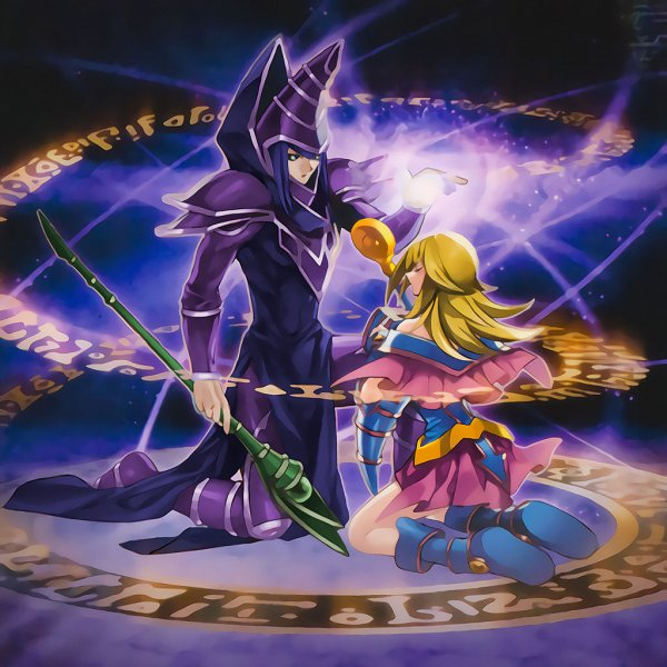 Tags: Anime, Yu-Gi-Oh! Duel Monsters, Yu-Gi-Oh!, Dark Magician Girl, Dark Magician, Sorcerer, Official Art, Official Card Illustration