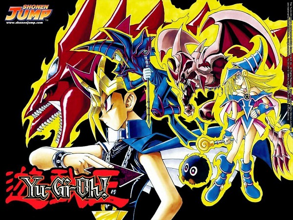 Tags: Anime, Takahashi Kazuki, Studio Gallop, Yu-Gi-Oh! Duel Monsters, Yu-Gi-Oh!, Dark Magician, Slifer the Sky Dragon, Kuriboh, Yami Yugi, Dark Magician Girl, Official Wallpaper, Wallpaper, Official Art