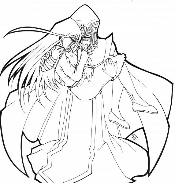 Tags: Anime, Yu-Gi-Oh!, Yu-Gi-Oh! Duel Monsters, Kisara, Kaiba Seto, Line Art, SetoKisa