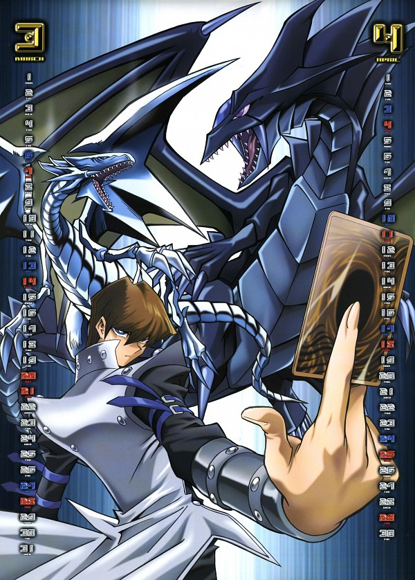 Tags: Anime, Takahashi Kazuki, Studio Gallop, Yu-Gi-Oh! 2004 Calendar, Yu-Gi-Oh!, Yu-Gi-Oh! Duel Monsters, Fang of Critias, Kaiba Seto, Blue-Eyes White Dragon, Official Art, Calendar (Source), Mobile Wallpaper