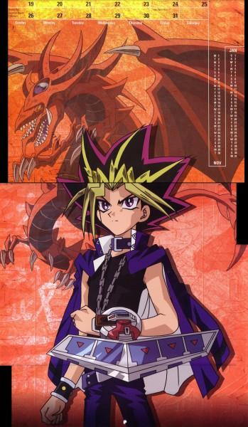 Tags: Anime, Takahashi Kazuki, Studio Gallop, Yu-Gi-Oh!, Yu-Gi-Oh! Duel Monsters, Yami Yugi, Slifer the Sky Dragon, Calendar (Source), Official Art, Self Scanned, Scan