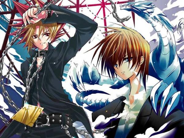 Tags: Anime, Yu-Gi-Oh!, Yu-Gi-Oh! Duel Monsters, Yami Yugi, Blue-Eyes White Dragon, Kaiba Seto, Fanart