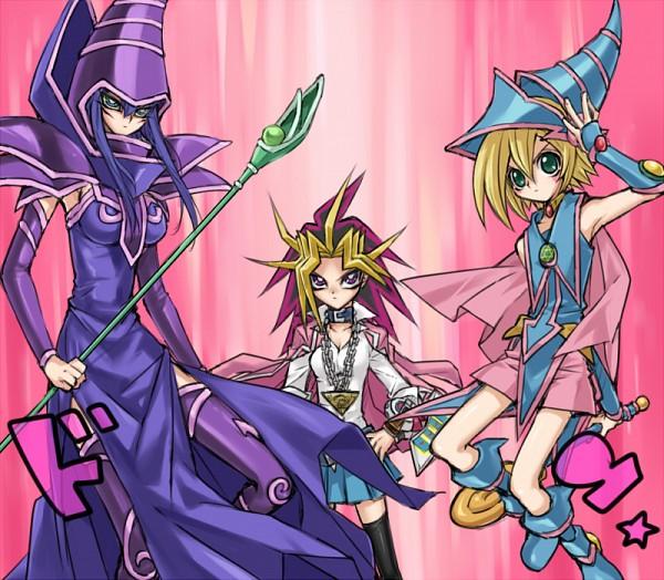 Tags: Anime, Koriyama Shashi, Yu-Gi-Oh!, Yu-Gi-Oh! Duel Monsters, Dark Magician, Yami Yugi, Dark Magician Girl, Magical Boy, Fanart From Pixiv, Pixiv, Fanart