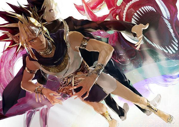 Tags: Anime, Pixiv Id 2713976, Studio Gallop, Yu-Gi-Oh! Duel Monsters, Yu-Gi-Oh!, Slifer the Sky Dragon, Pharaoh Atem, Mutou Yuugi, Yami Yugi, Egyptian Clothes, God, Fanart From Pixiv, Pixiv