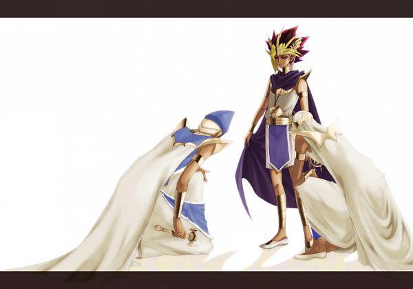 Tags: Anime, Pixiv Id 416492, Studio Gallop, Yu-Gi-Oh! Duel Monsters, Yu-Gi-Oh!, Pharaoh Atem, Kaiba Seto, Yami Yugi, Mahad, Priest Seto, Egyptian Clothes, Millennium Rod, Bowing
