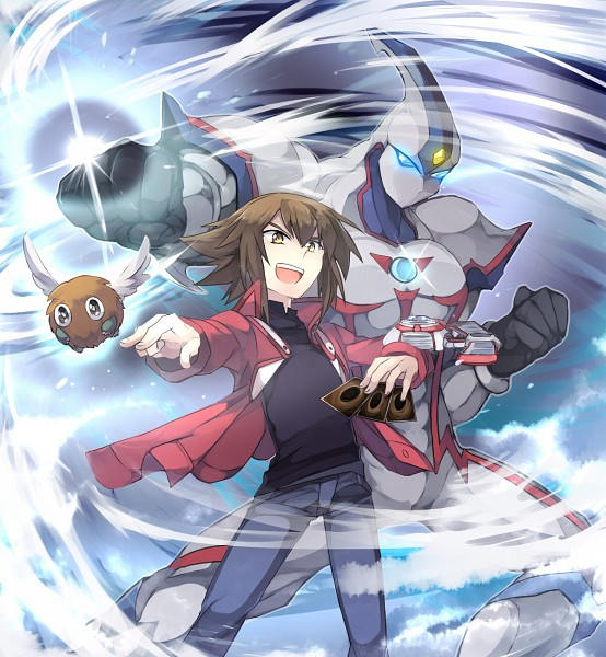 Tags: Anime, Pixiv Id 3698427, Yu-Gi-Oh!, Yu-Gi-Oh! GX, Juudai Yuuki, Elemental HERO Neos, Winged Kuriboh, Mouthless, Fanart From Pixiv, Fanart, Pixiv