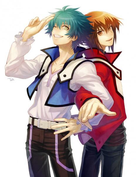 Tags: Anime, Tea (Retroz), Yu-Gi-Oh! GX, Yu-Gi-Oh!, Johan Andersen, Juudai Yuuki, V-neck, Fanart From Pixiv, Pixiv, Fanart, JohaJuu