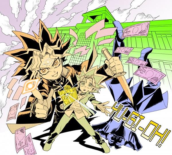 Tags: Anime, Yuuichi-87, Yu-Gi-Oh! Season Zero, Yu-Gi-Oh!, Mutou Yuugi, Tetsu Ushio, Yami Yugi, Money, Pointing at Camera, Dollars, Eye (Symbol), Fanart, Fanart From Pixiv