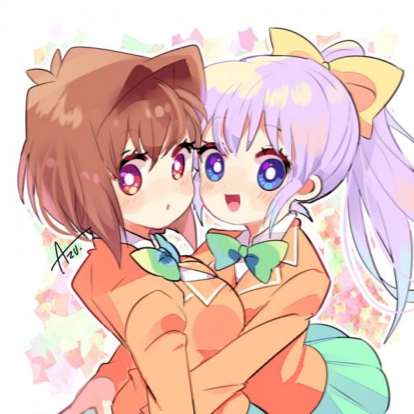 Tags: Anime, Azu., Yu-Gi-Oh! Season Zero, Yu-Gi-Oh!, Nosaka Miho, Mazaki Anzu, Orange Outerwear, Fanart From Pixiv, Fanart, Pixiv