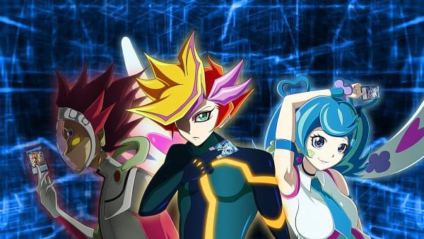 Tags: Anime, Pixiv Id 14668201, Yu-Gi-Oh! VRAINS, Yu-Gi-Oh!, Trickstar Holly Angel, Topologic Bomber Dragon, Firewall Dragon, Zaizen Aoi, Revolver (Yu-Gi-Oh! VRAINS), Playmaker, Kougami Ryouken, Blue Angel, Fujiki Yuusaku