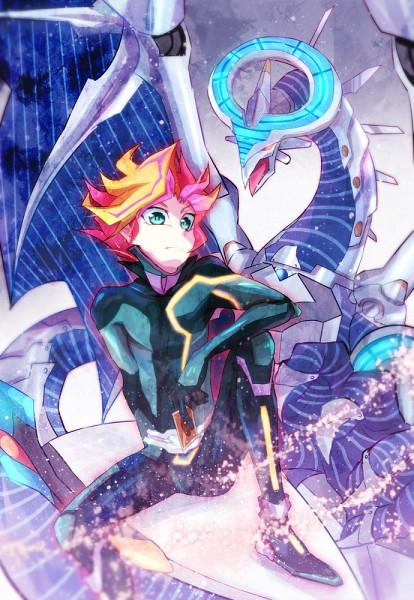Tags: Anime, Pixiv Id 24582288, Yu-Gi-Oh! VRAINS, Yu-Gi-Oh!, Fujiki Yuusaku, Firewall Dragon, Playmaker, Wide Eyes, D-Board, Skating, Blue Gem, Hoverboard, Gray Sky