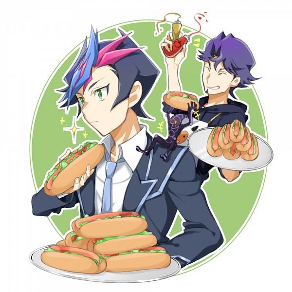 Tags: Anime, Pixiv Id 20834282, Yu-Gi-Oh! VRAINS, Yu-Gi-Oh!, Ai (Yu-Gi-Oh! VRAINS), Kusanagi Shouichi, Fujiki Yuusaku, Ketchup, Hot Dog, Black Hoodie, Mustard, Fanart, Fanart From Pixiv