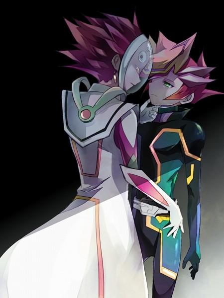 Tags: Anime, Pixiv Id 2517232, Yu-Gi-Oh! VRAINS, Yu-Gi-Oh!, Revolver (Yu-Gi-Oh! VRAINS), Playmaker, Fujiki Yuusaku, Kougami Ryouken, No Eyebrows, Knights of Hanoi Uniform, Fanart From Pixiv, Pixiv, Fanart