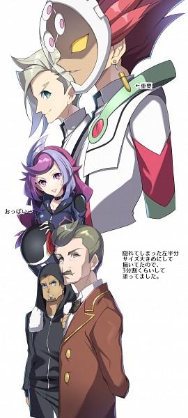 Tags: Anime, Yuui1994, Yu-Gi-Oh! VRAINS, Yu-Gi-Oh!, Onizuka Gou, Onizuka Gou's Manager, Specter, Bessho Ema, Revolver (Yu-Gi-Oh! VRAINS), Knights of Hanoi Uniform, Helmet Off, No Arms, Motorcycle Helmet