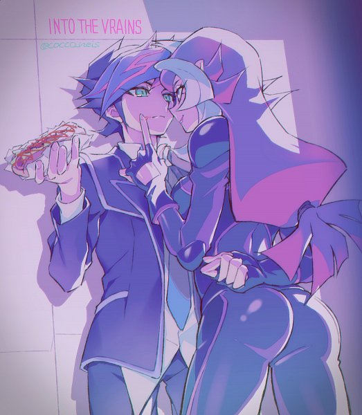 Tags: Anime, Cocconeis, Yu-Gi-Oh! VRAINS, Yu-Gi-Oh!, Bessho Ema, Fujiki Yuusaku, Purple Lips, Hot Dog, Cleaning, Leaning On Wall, Twitter, PNG Conversion, Fanart