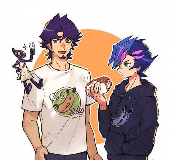 Tags: Anime, 2 Triangle, Yu-Gi-Oh! VRAINS, Yu-Gi-Oh!, Kusanagi Shouichi, Fujiki Yuusaku, Ai (Yu-Gi-Oh! VRAINS), Black Hoodie, Hot Dog, Mouthless, Tongs, Twitter, Fanart
