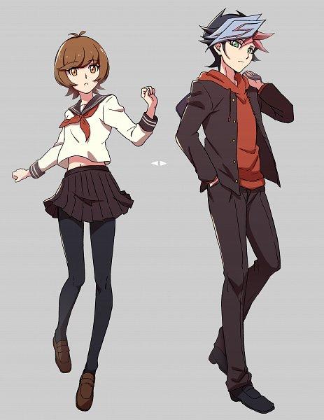 Tags: Anime, Pixiv Id 3720725, Yu-Gi-Oh! VRAINS, Yu-Gi-Oh!, Zaizen Aoi, Fujiki Yuusaku, Holding Bag, Leggings, Red Hoodie, Yankee, Pixiv, Fanart From Pixiv, Fanart