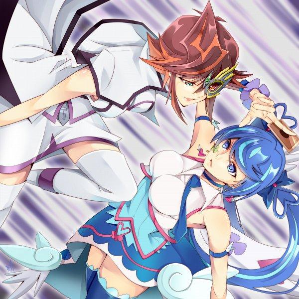 Tags: Anime, Pixiv Id 121476, Yu-Gi-Oh! VRAINS, Yu-Gi-Oh!, Taki Kyoko, Blue Angel, Zaizen Aoi, Knights of Hanoi Uniform, Fanart From Pixiv, Pixiv, Fanart