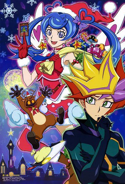 Tags: Anime, Yu-Gi-Oh! VRAINS, Yu-Gi-Oh!, Roboppy, Playmaker, Ai (Yu-Gi-Oh! VRAINS), Fujiki Yuusaku, Blue Angel, Zaizen Aoi, Reindeer Costume, Sack, Mouthless, D-Board