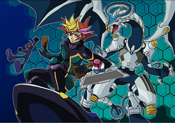 Tags: Anime, Pixiv Id 392559, Yu-Gi-Oh! VRAINS, Yu-Gi-Oh!, Firewall Dragon, Playmaker, Fujiki Yuusaku, Ai (Yu-Gi-Oh! VRAINS), Hoverboard, Mouthless, D-Board, Skating, Fanart From Pixiv