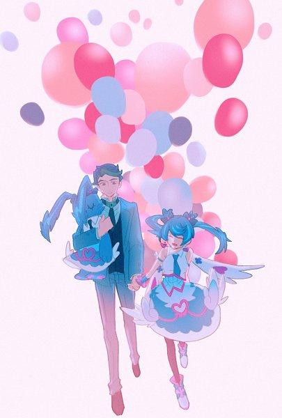 Tags: Anime, Pixiv Id 6425898, Yu-Gi-Oh! VRAINS, Yu-Gi-Oh!, Zaizen Akira, Blue Angel, Zaizen Aoi, No Nose, Heart Print, Looking At Hands, Pixiv, Fanart, Fanart From Pixiv