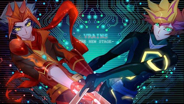 Tags: Anime, Pixiv Id 4003689, Yu-Gi-Oh! VRAINS, Yu-Gi-Oh!, Playmaker, Fujiki Yuusaku, Soulburner, Homura Takeru, Floating Scarf, Flame Print, Pixiv, Wallpaper, Fanart From Pixiv